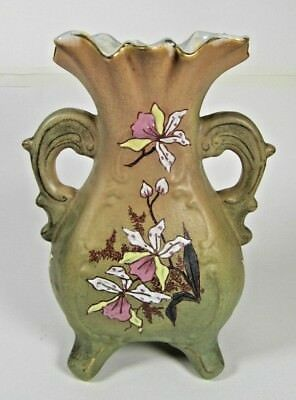 Antique Majolica Vase French Art Nouveau Enameled Daffodils c1900 Luneville