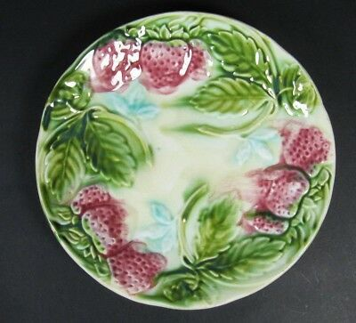 Antique French Majolica Wall Plate Leaves Strawberries Victorian c1880