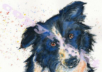 BORDER COLLIE PRINT from Original Watercolour DOG PUP Painting Art by JOSIE P