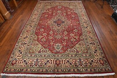 Vintage Persian Geometric Floral Design Rug, 7'x10', Red/Pink, All wool pile