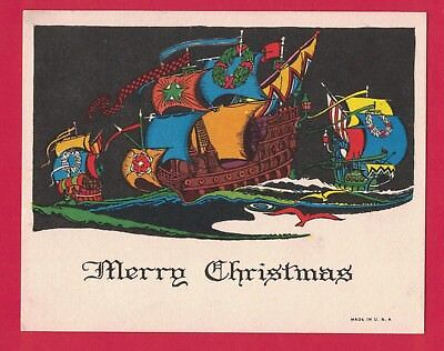 0318J Vtg Art Deco Xmas Card Tall Sailing Ships Vibrant Colors Black Sky