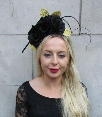 Black and Gold Rose Leaf Flower Feather Fascinator Headpiece Races Headband 6739