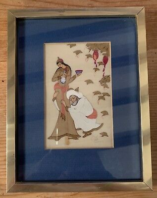 Antique Vintage Middle Eastern Persian Painting Picture Beautiful Arabian Woman?