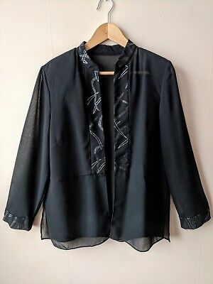 90s vintage sheer black open cardigan evening top silver patterned party