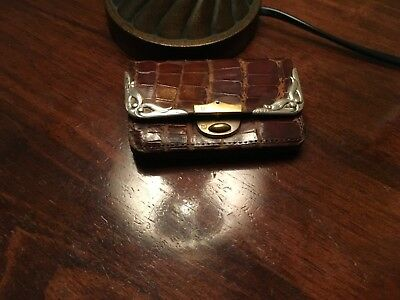 Antique Victorian 1903 Sterling SILVER Leather Wallet Purse Coin Card Stamp Case
