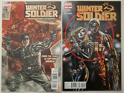 CAPTAIN AMERICA WINTER SOLDIER #1 AND #2 BRUBAKER  BLACK WIDOW MARVEL 1st print.