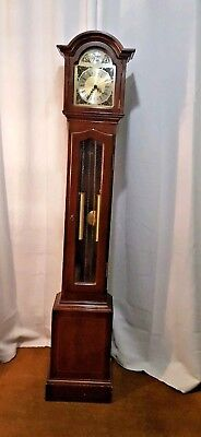 Small Mahogany 1970s longcase Weight Driven Grandmother Clock