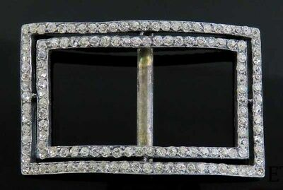 19th Century European Silver & Paste Stones Knee or Shoe Buckle