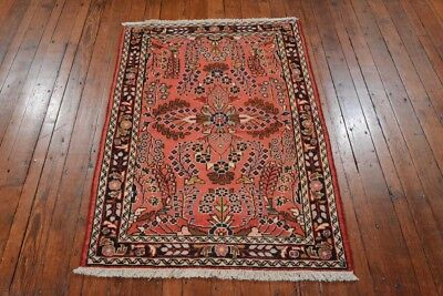 Vintage Persian Malayer Design Rug, 3'x4', Red/Black, All wool pile