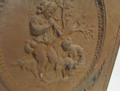 Victorian Antique CAST IRON Fireplace COVER, DOOR, French Pastoral Scene