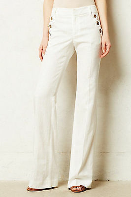 NWT ANTHROPOLOGIE LINEN BRIGHTON WIDE-LEGS IVORY TROUSER PANTS by ELEVENSES 8
