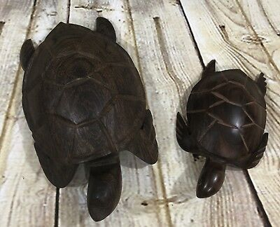 """Set Of 2 Hand Carved Wood Wooden Ironwood Sea Turtle Figurines 7.5"""" And 5.25"""""""