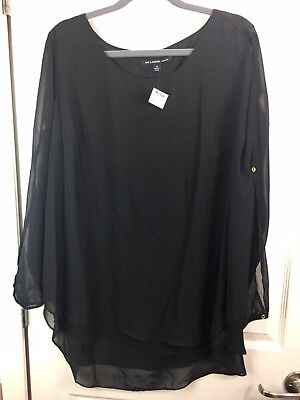 0dcb483ef8c NWT zac   rachel Woman Sz 2X Black Semi sheer Flowing Cold Shoulder blouse  Top