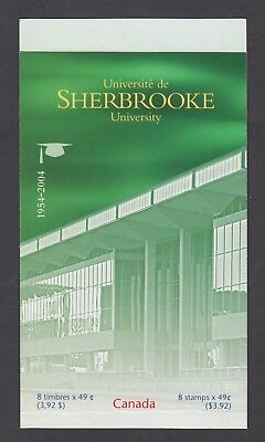 CANADA BOOKLET BK289b 8 x 49c SHERBROOKE UNIVERSITY, OPEN COVER