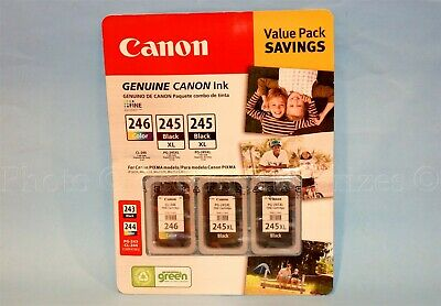 Canon Genuine Ink 2 BLACK PG-245 XL + 1 COLOR CL-246 Color Compatible OEM 3 Pack