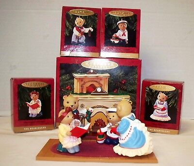 """The Bearingers"" Hallmark Ornament 5 Piece Set BEARS W/ Lighted Fireplace (ACS)"