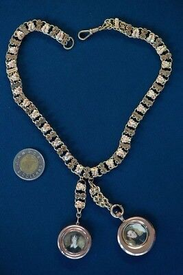 Victorian Celebration Love Gold Double Locket Necklace 1800's Book Link Chain