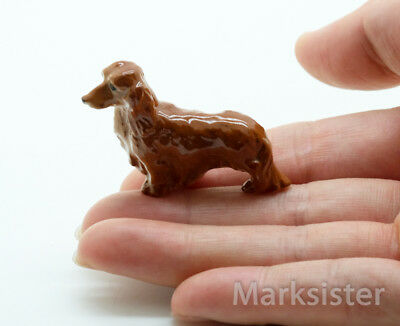Figurine Animal Ceramic Brown Dachshund Miniature Long Haired Dog - CDG161