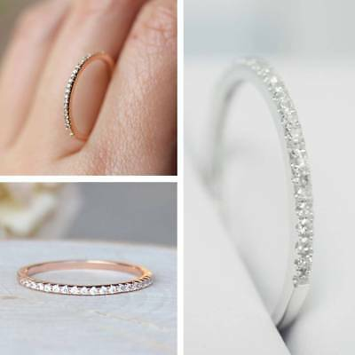 New Women Gold Silver Crystal Rhinestones Round Rings Jewelry Gifts Size 5-10