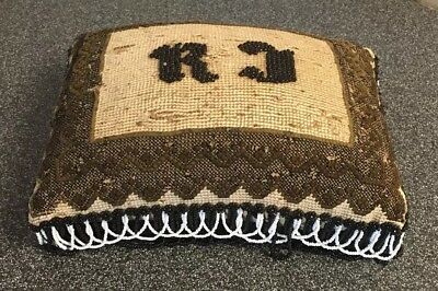 "ANTIQUE VICTORIAN NEEDLEPOINT & BEADWORK PIN CUSHION / PILLOW ""RJ"" 8""x6""x3-1/2"""