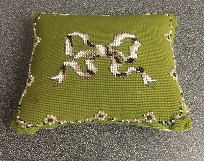 "ANTIQUE VICTORIAN NEEDLEPOINT & BEADWORK PIN CUSHION / PILLOW Ribbon 8""x6""x3"""
