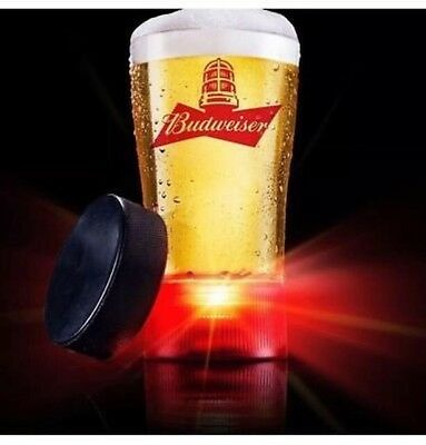 NEW! Budweiser Red Light Goal Glass Sync to Any NHL Hockey Team Beer Mug Cup