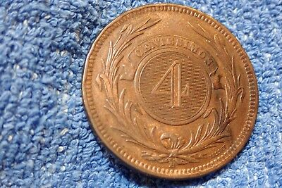 Uruguay: Scarce 4 Centesimos Large Bronze Coin 1869-H  About Extremely Fine!