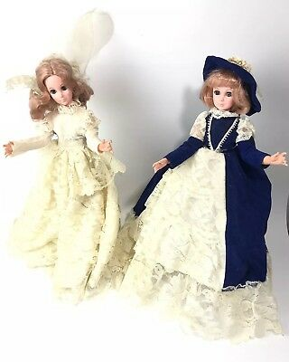 """Lot Of (2) Vintage 1963 Eegee Dolls 15"""" Beautiful Layered Lace Dress- Blue White"""