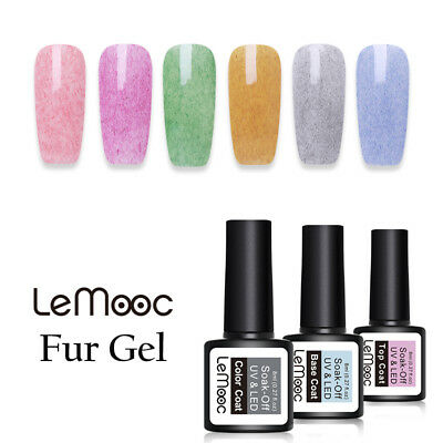 LEMOOC 8ml Fur Soak Off UV Gel Polish Pink Purple Nail Art Varnish Manicure