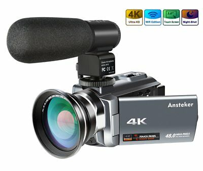 Portable 4K Camcorder 48MP 30FPS Ultra HD WiFi Video Camera Mic IR Night Vision