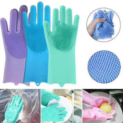 Magic Silicone Rubber Dish Washing Gloves Pair Scrubber Cleaning Sponge Kitchen