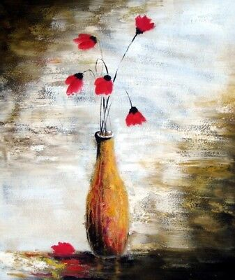 Fallen Petals Stretched Canvas Colorful Oil Painting Modern Floral Wall Art