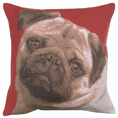 Pugs Face Red French Woven Tapestry Cushion Pillow Cover Vintage Art Home Decor