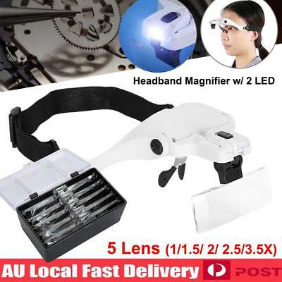 Headband Headset Head LED Lamp Light Jeweler Magnifying Glass Magnifier Loupe