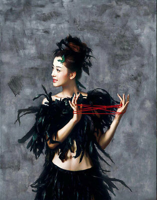 CHENPAT370 black portrait girl playing skipping art oil painting on canvas