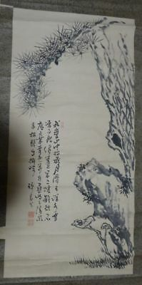 Rare Japanese Antique Hand Painted Hanging Scroll Black Pine Tree Calligraphy