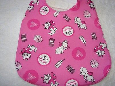 Love Marie Cat Pink Bib Cotton Front Towelling Back Handmade