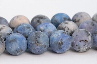 8MM Natural Matte Light Blue Purple Jade Beads Grade AAA Round Loose Beads 15""