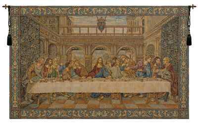 The Last Supper by da Vinci Italian Religious Woven Tapestry Wall Hanging NEW