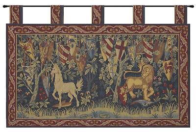 Lion et Licorne Heraldiques French Medieval Unicorn Lion Woven Wall Tapestry