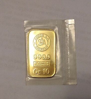 10 grams Argor Chiasso Gold  Bar (Rare)