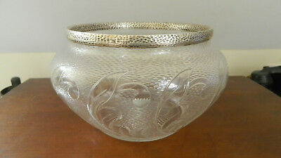 Antique Rare John Newton Mappin  Sterling Silver Crystal Fruit Bowl Dated 1890