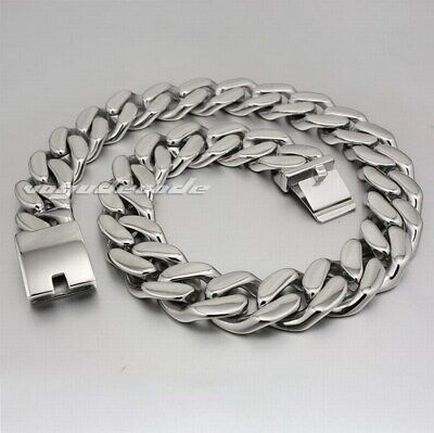 Huge Heavy 316L Stainless Steel Chunky Curb Link Chain Mens Punk Necklace 5P004N
