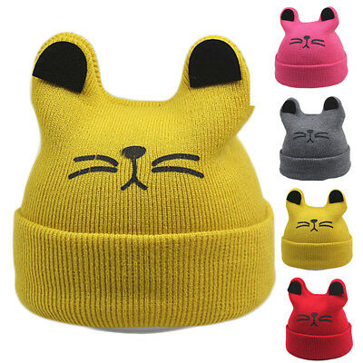 Cute Ear Baby Kids Toddler Girls Boys Warm Elastic Hat Winter Beanie Hats Plush