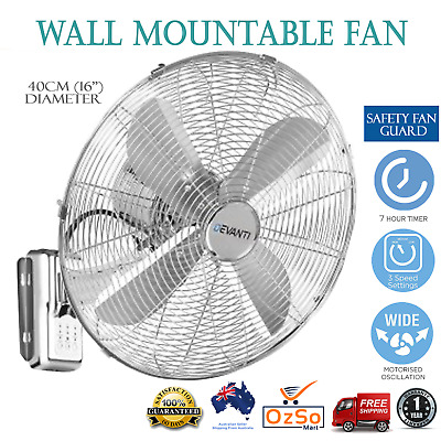 Devanti Wall Mounted Fan Remote Control Timer 3 Speed Cooling Cooler Silver 40cm