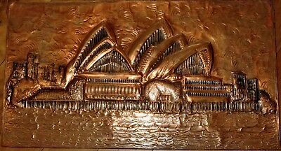 Retro handcrafted copper wall art of the Sydney Opera House