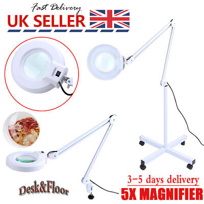 5X Magnifying Lamp Daylight Magnifier Lens Desk Work Bench Floor Task Craft 22W