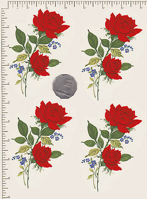 """4 x Waterslide ceramic decals Red roses spray Flowers Approx. 4"""" x 2 1/2"""" PD11a"""