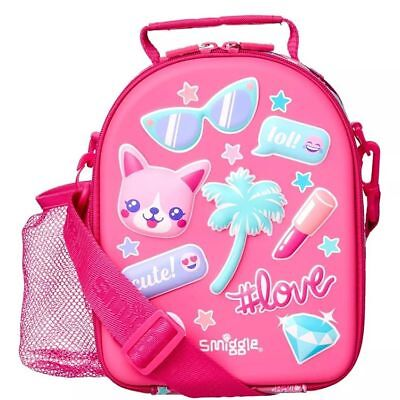 Smiggle Hardtop Strap Lunchbox insulated bag school girl Pink Shiny hold Bottle