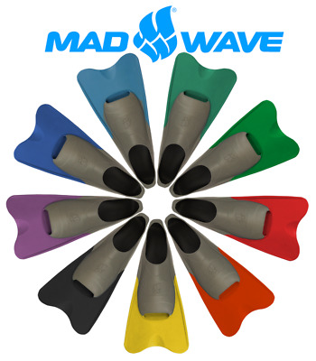 Mad Wave Swim Fins - Short Blade. Childrens to Adult Sizes